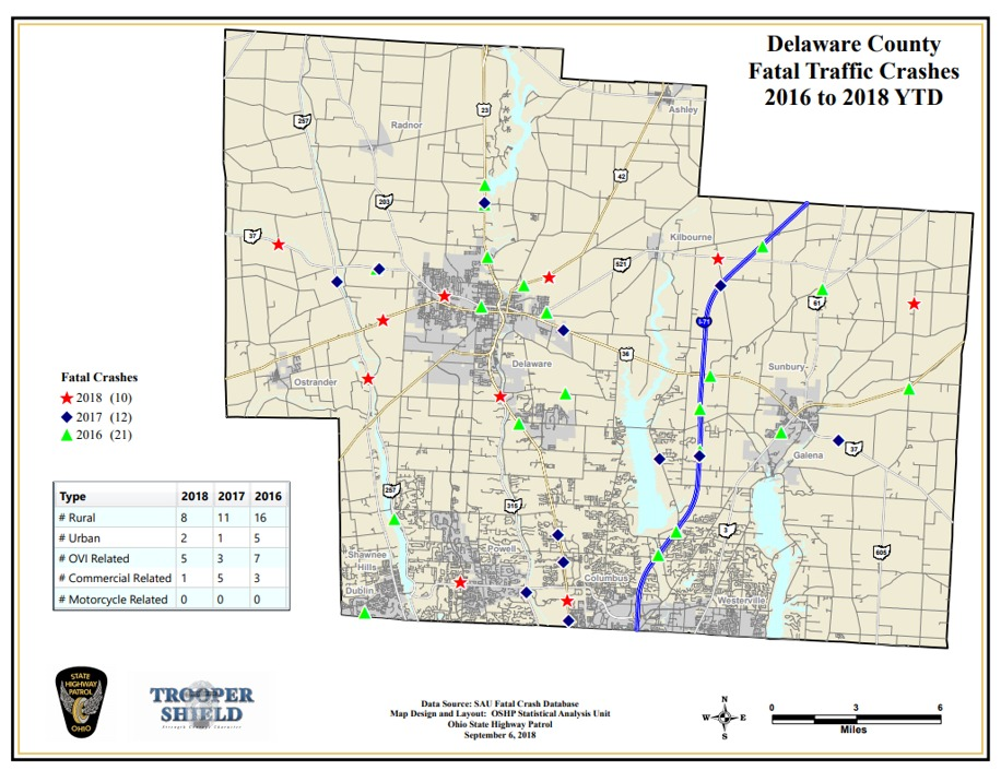 Delaware Traffic Map.Delaware County Traffic Fatalities Traffic Citations Down This Year